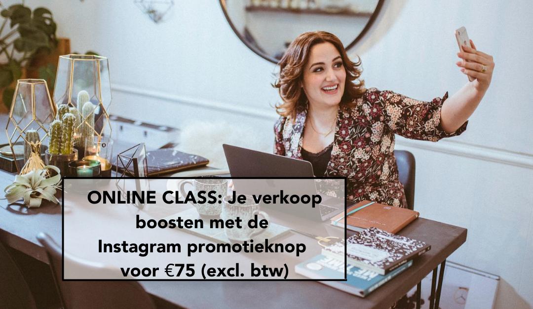 ONLINE CLASS: Je verkoop boosten met de Instagram promotieknop voor €75 (excl. btw)